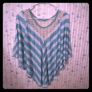 Blue striped poncho top